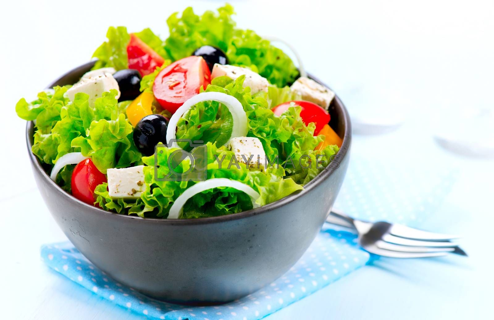 Mediterranean Salad. Greek Salad isolated on a White Background