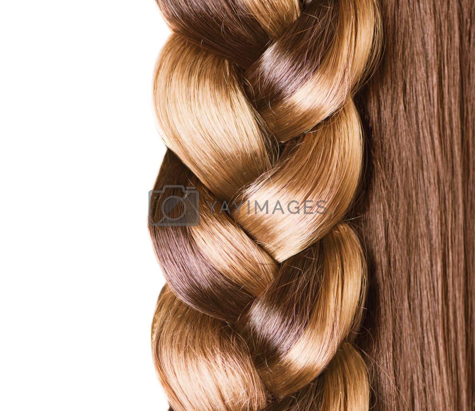 Braid Hairstyle. Brown Long Hair close up. Healthy Hair by Subbotina Anna