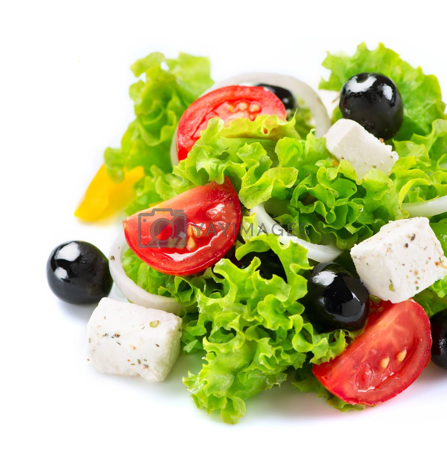 Mediterranean Salad. Greek Salad isolated on a White Background  by SubbotinaA