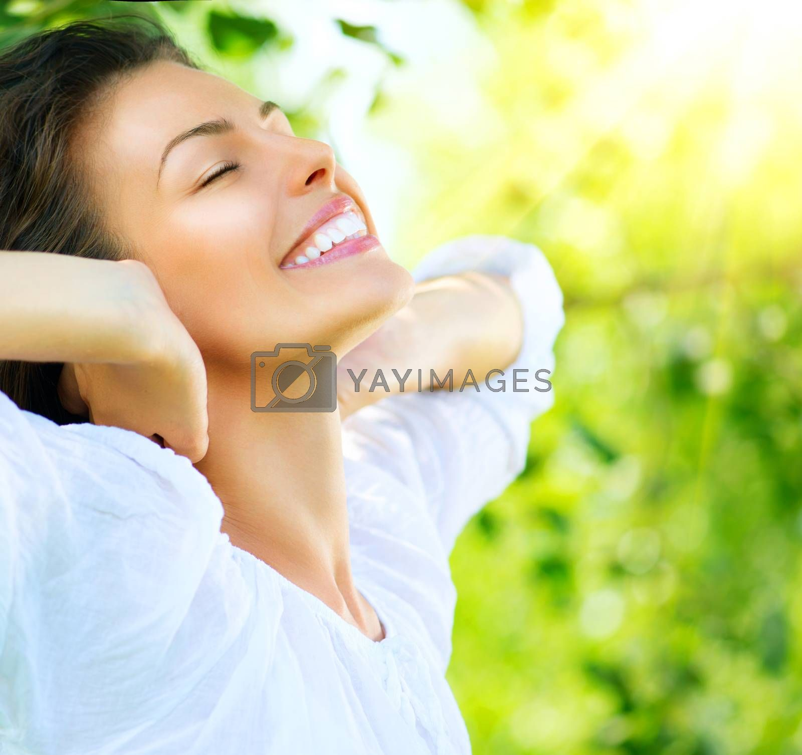 Beautiful Young Woman Outdoor. Enjoy Nature by SubbotinaA