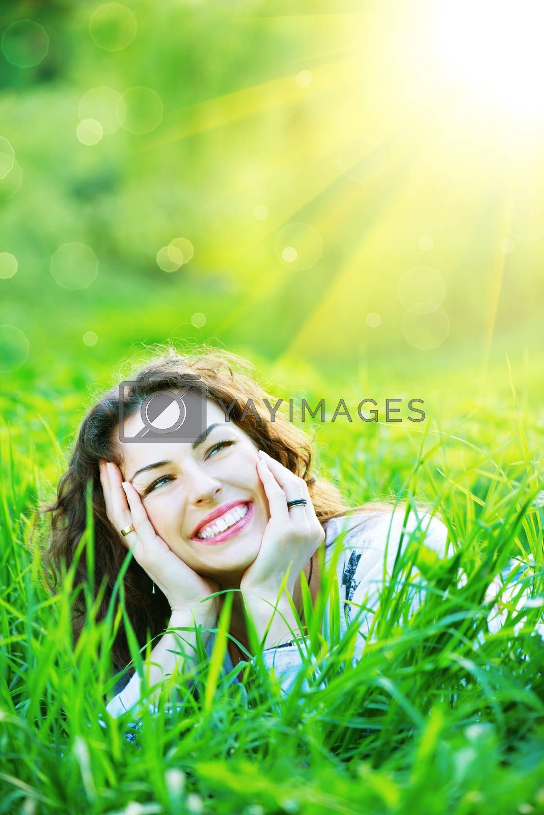 Beautiful Spring Young Woman Outdoors Enjoying Nature