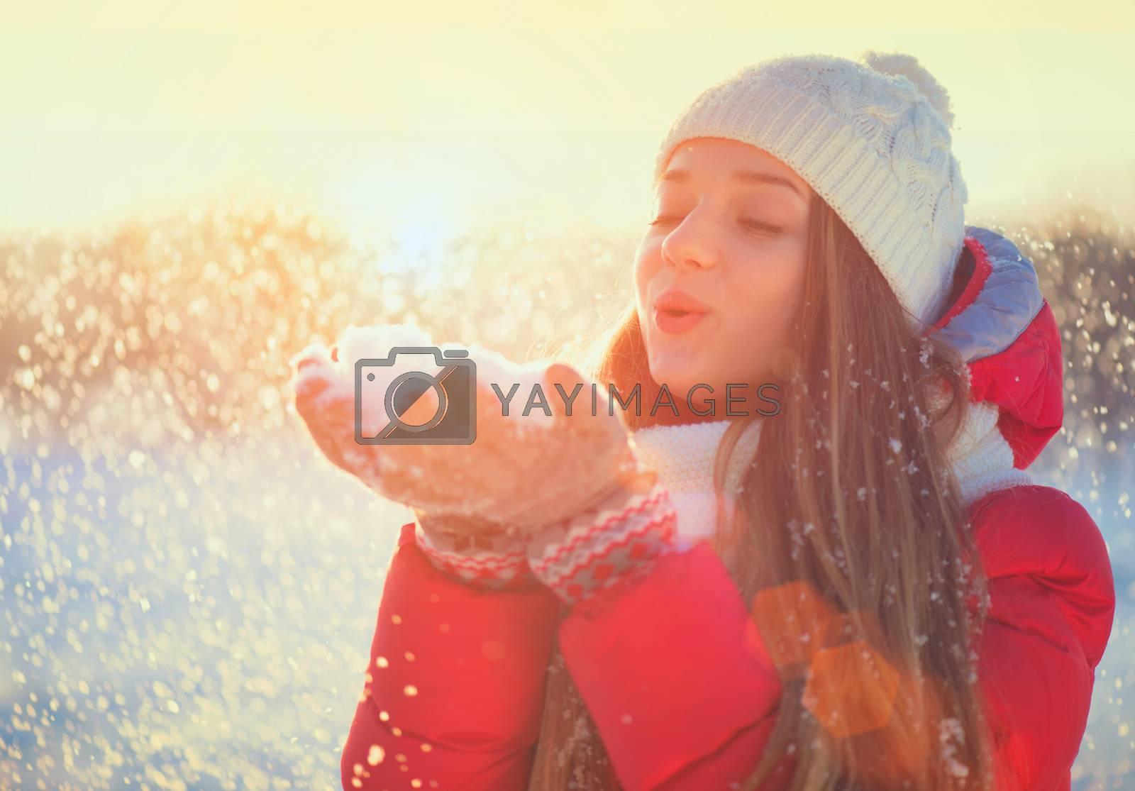 Beauty Winter Girl Having Fun in Winter Park by SubbotinaA