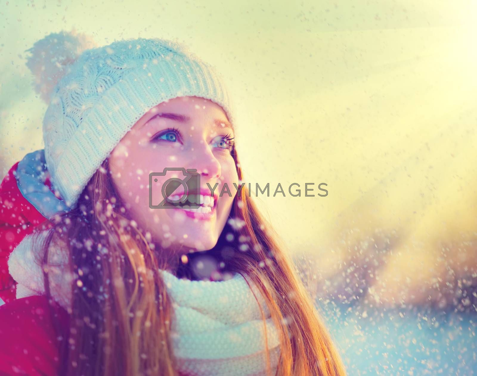 Royalty free image of Beauty Winter Girl Having Fun in Winter Park by SubbotinaA