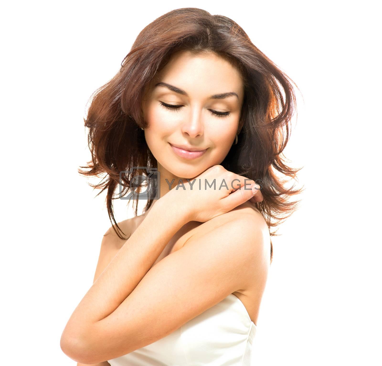 Beauty Woman. Beautiful Young Female Touching Her Skin  by SubbotinaA