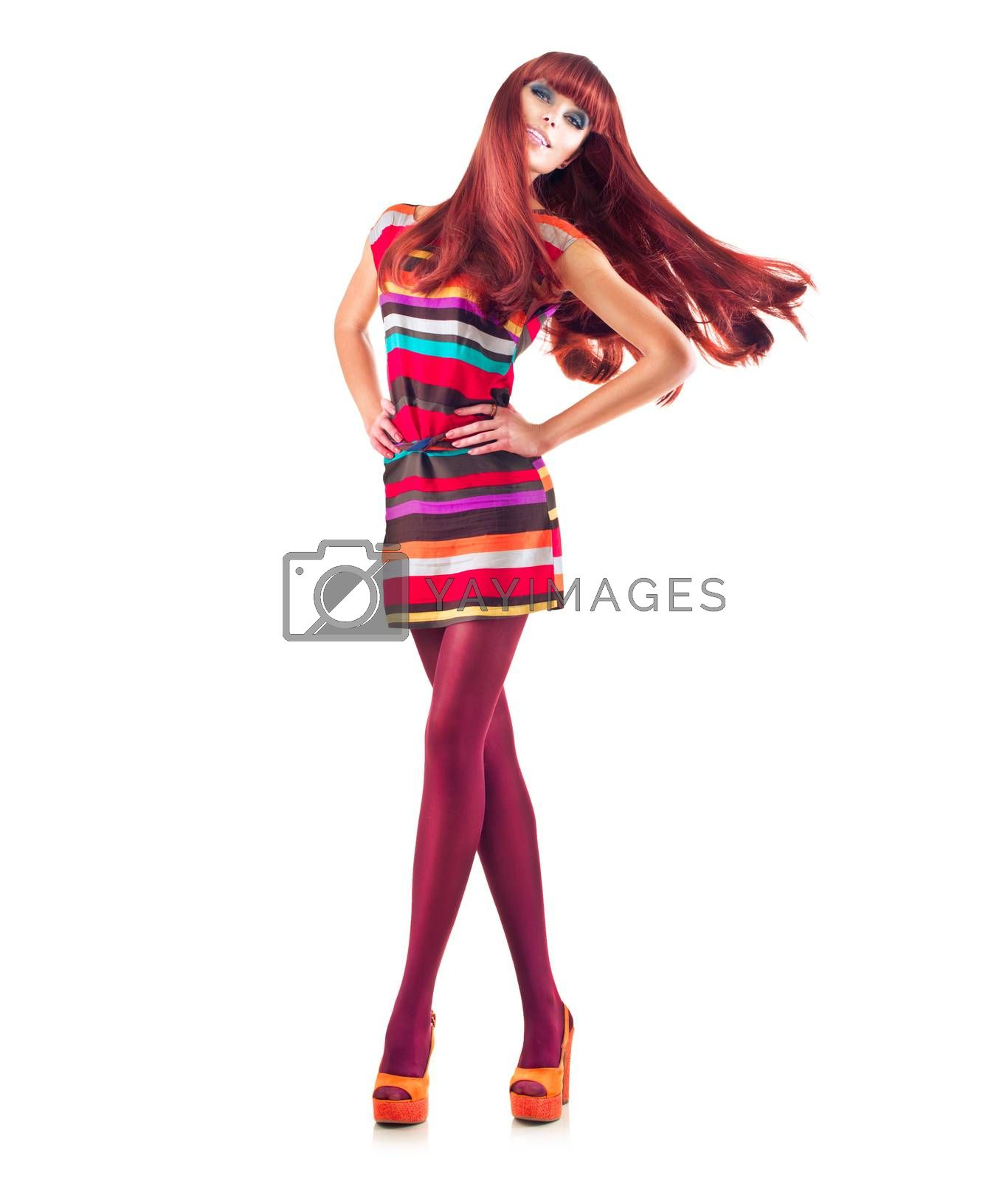 Full Length Portrait of Sexy Model Girl with Long Red Hair
