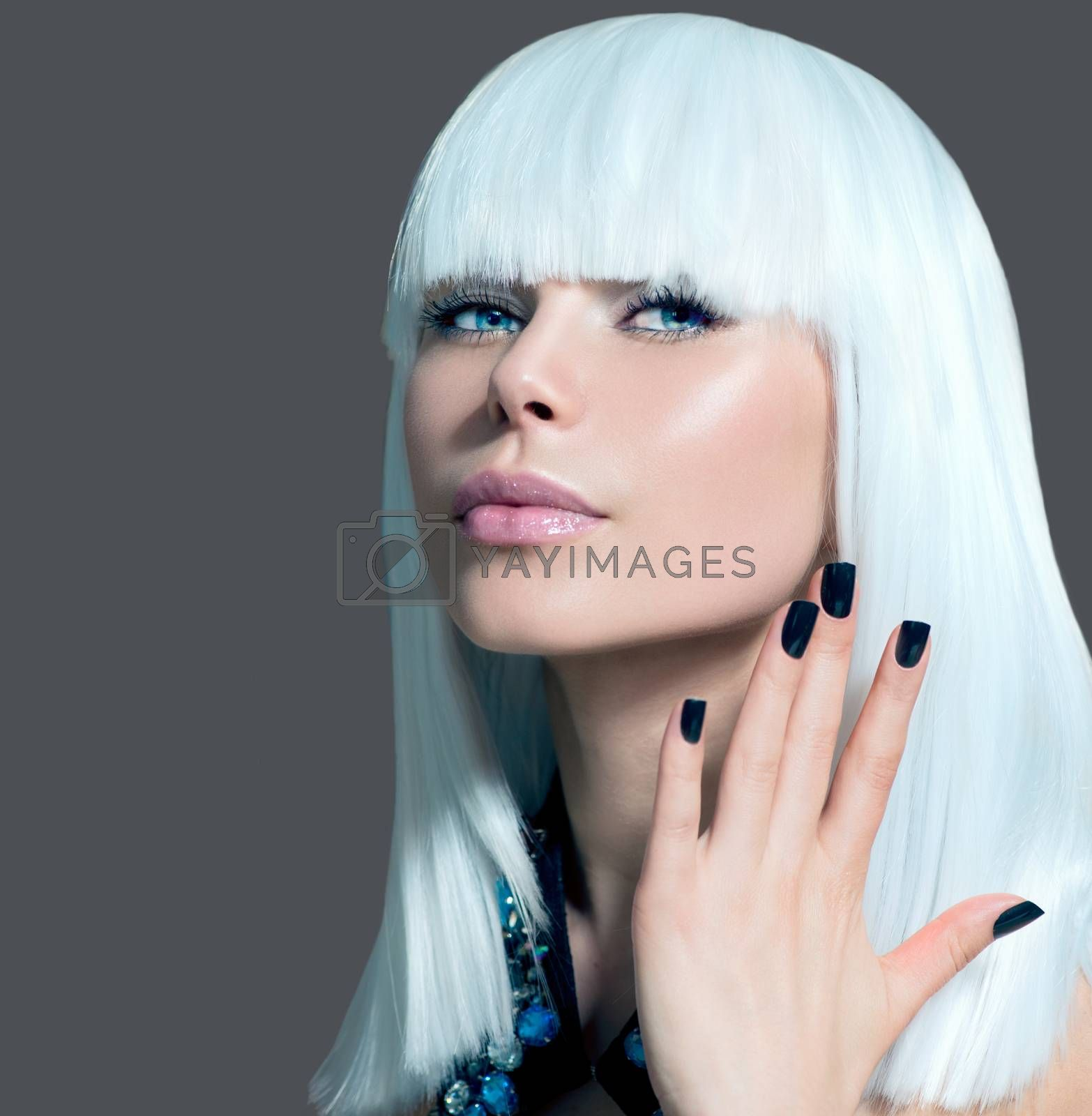 Vogue Style Model Portrait. Girl with White Hair and Black Nails by SubbotinaA