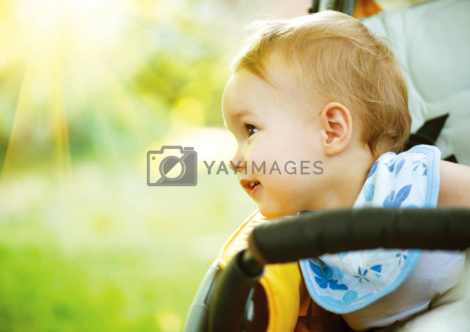 Royalty free image of Little Baby Girl Portrait Outdoor. Smiling Cute Child by SubbotinaA