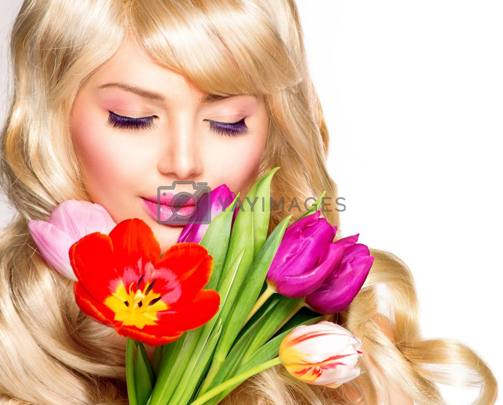 Beauty Woman with Spring Flower bouquet by SubbotinaA