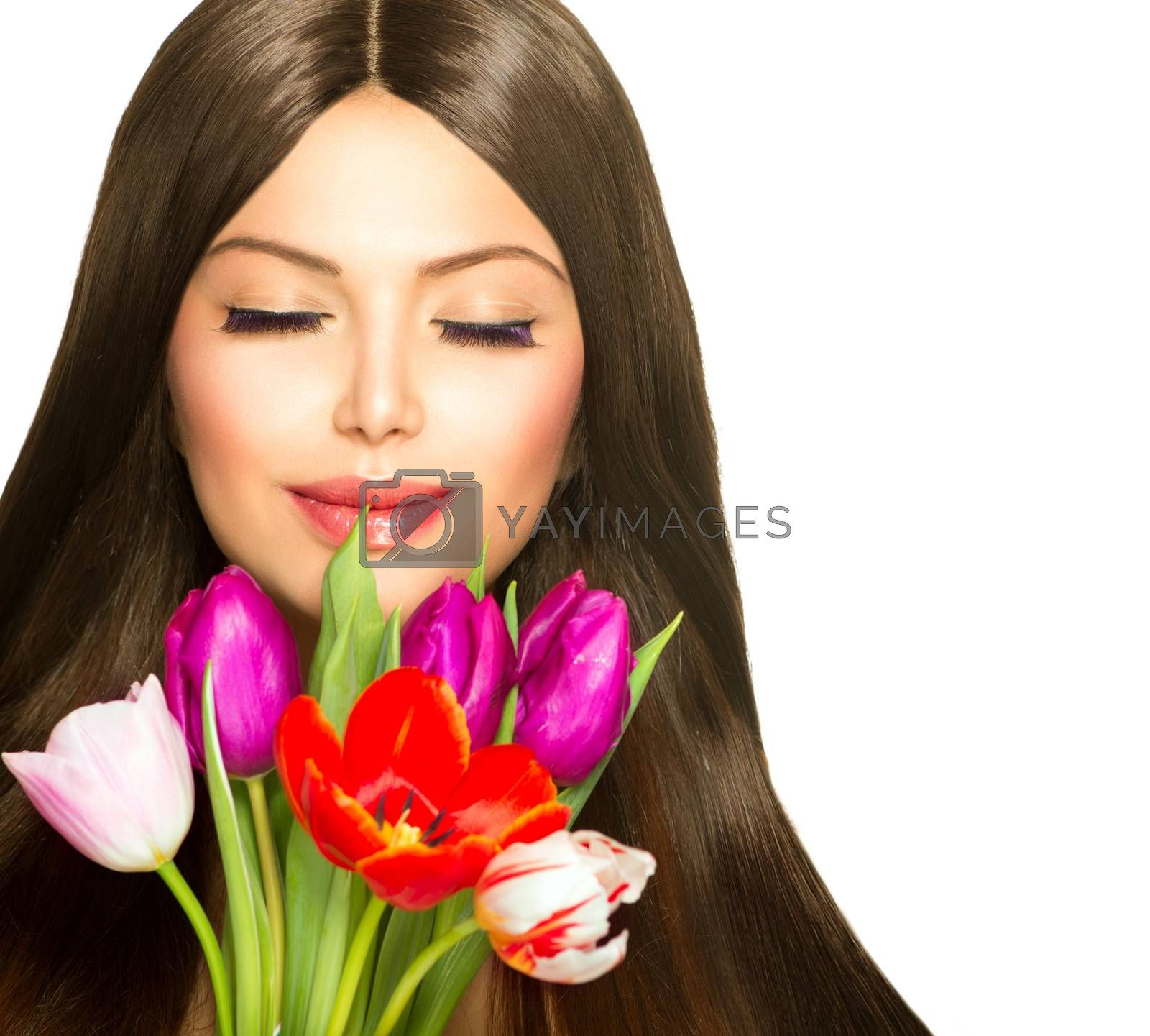 Beauty Woman with Spring Bouquet of Tulip Flowers by SubbotinaA