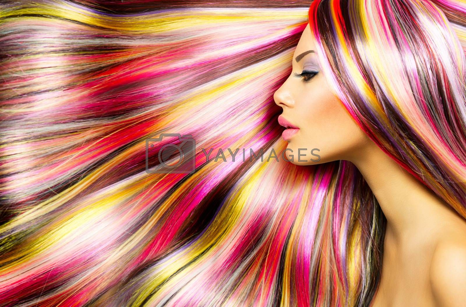 Beauty Fashion Model Girl with Colorful Dyed Hair by SubbotinaA