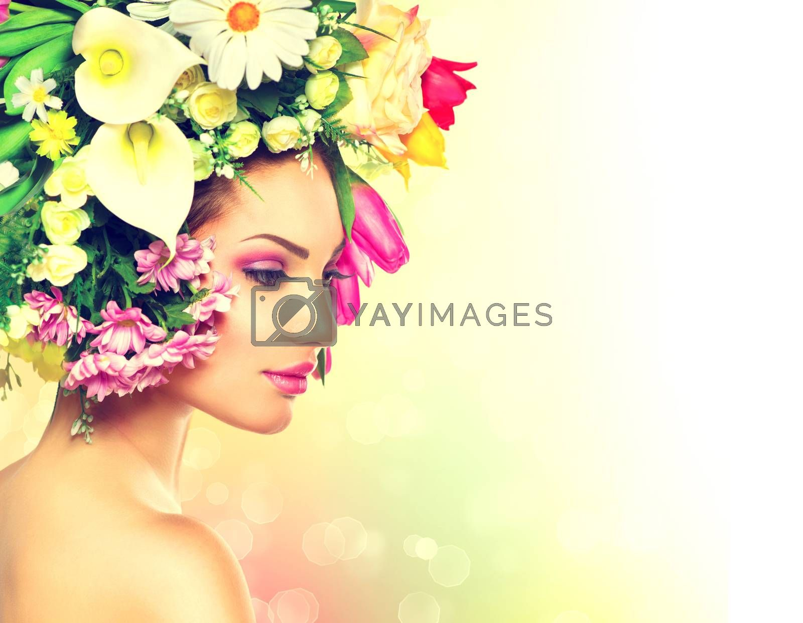 Beauty Spring Girl with Flowers Hair Style by SubbotinaA