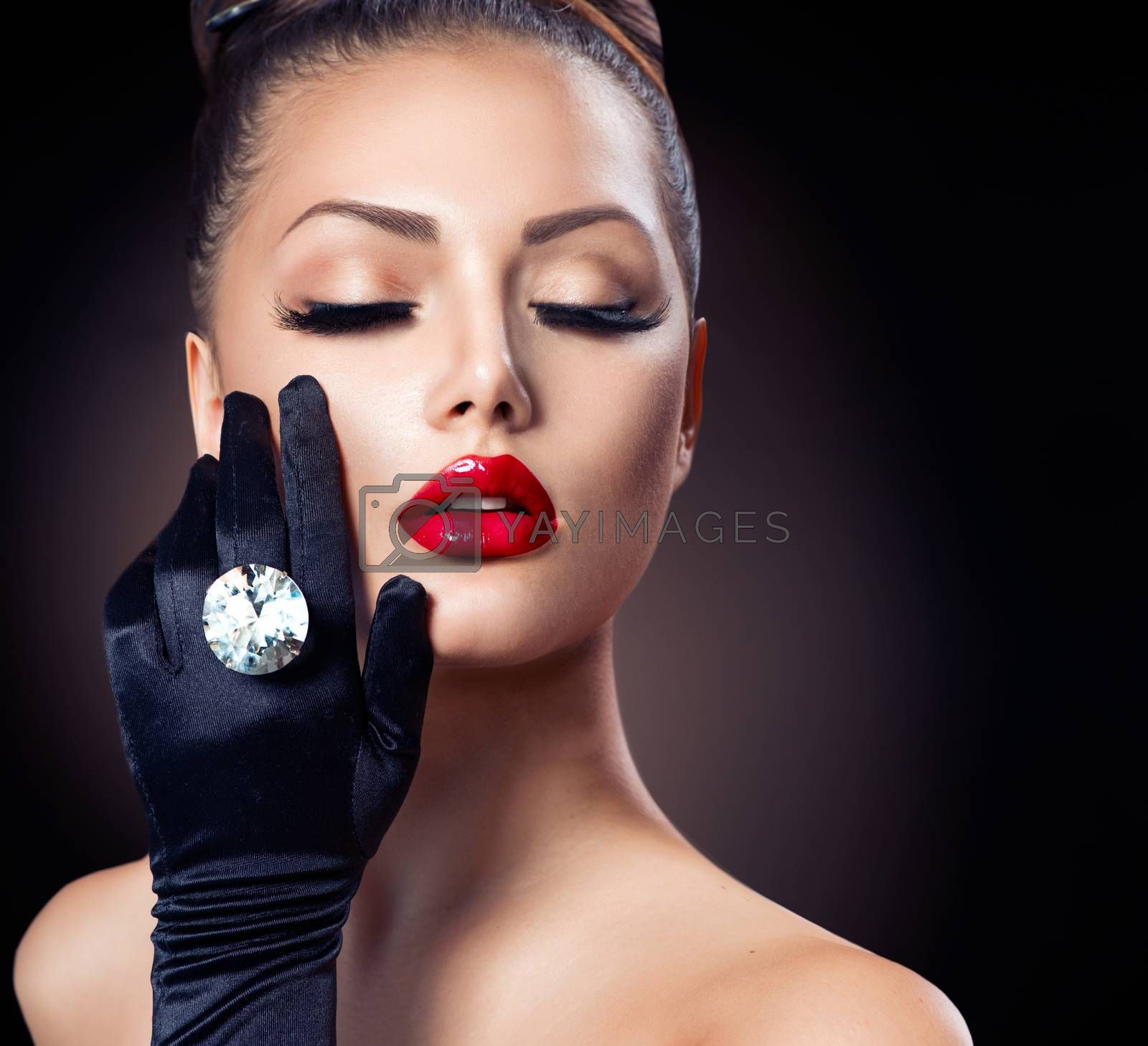 Royalty free image of Beauty Fashion Glamour Girl Portrait over Black by SubbotinaA