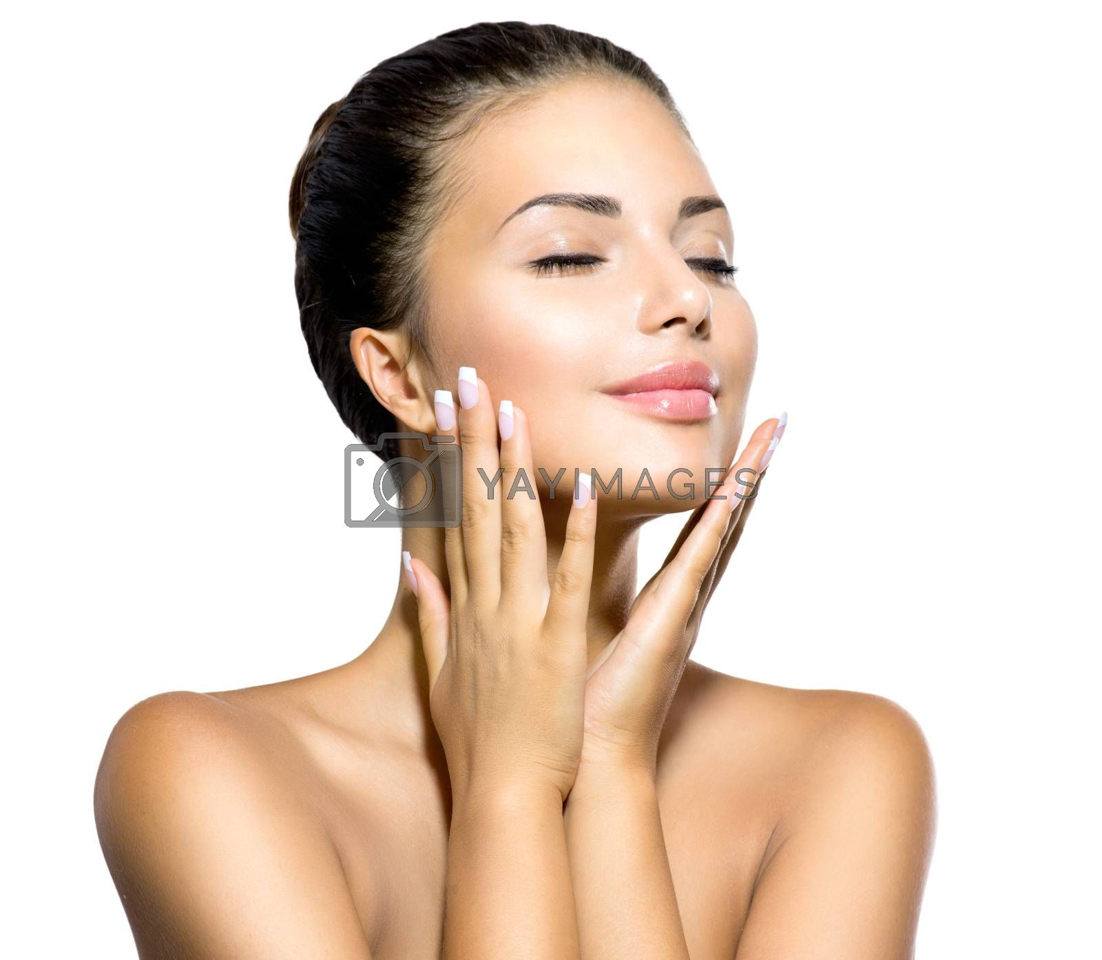 Royalty free image of Beauty Woman. Beautiful Young Female touching Her Skin by SubbotinaA
