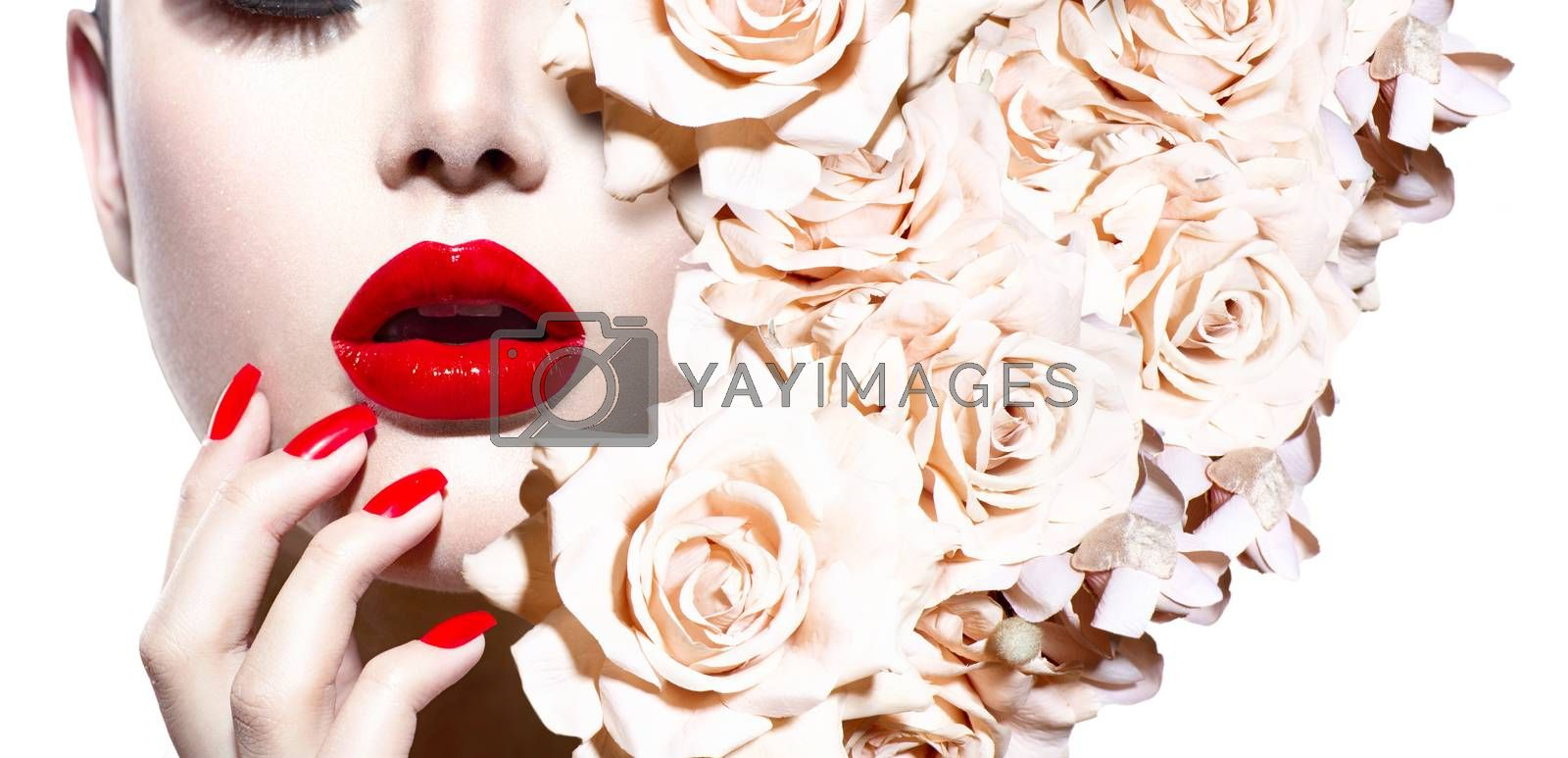 Fashion Sexy Woman with Flowers. Vogue Style Model by SubbotinaA