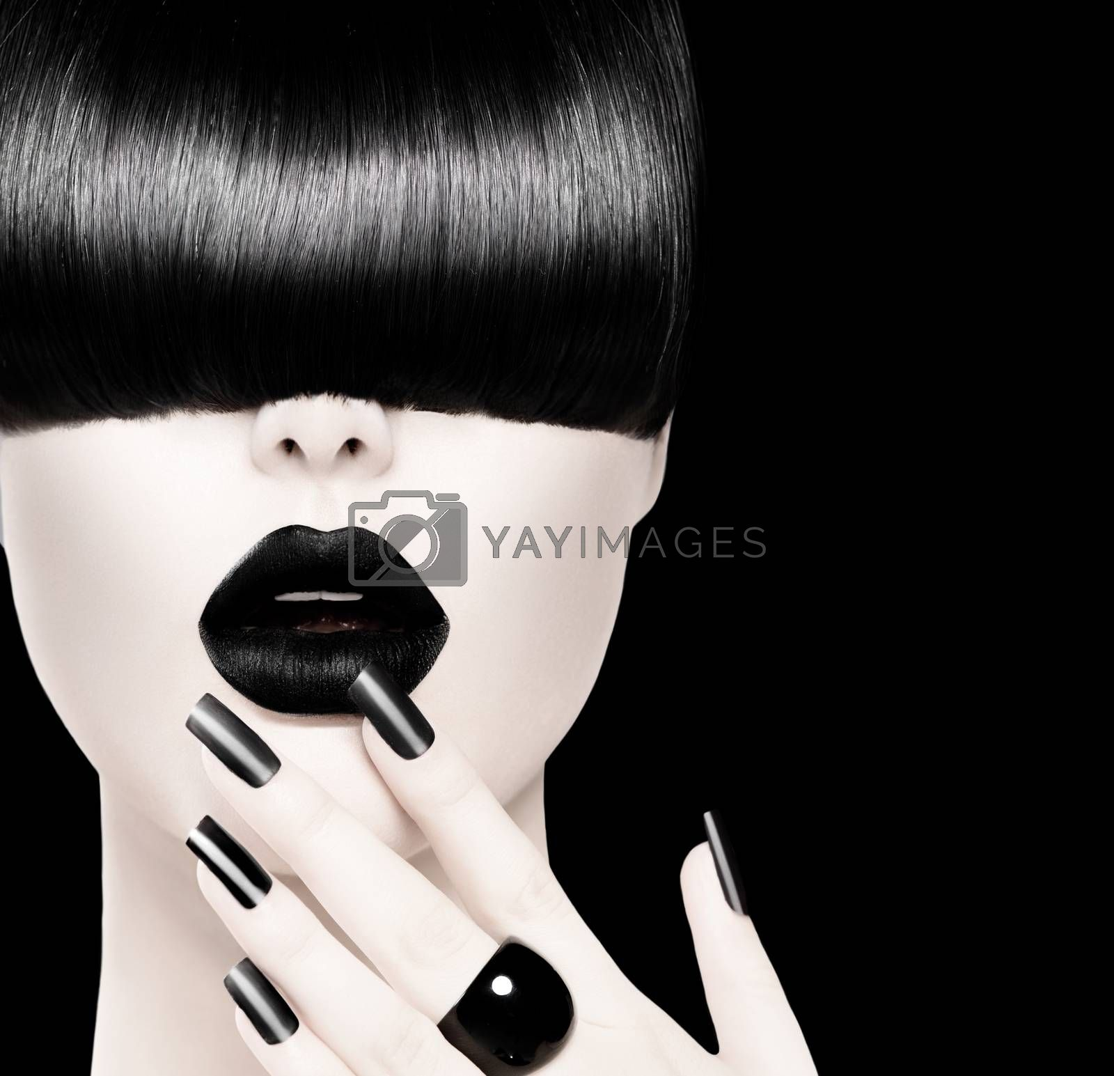 High Fashion Black and White Model Girl Portrait by SubbotinaA