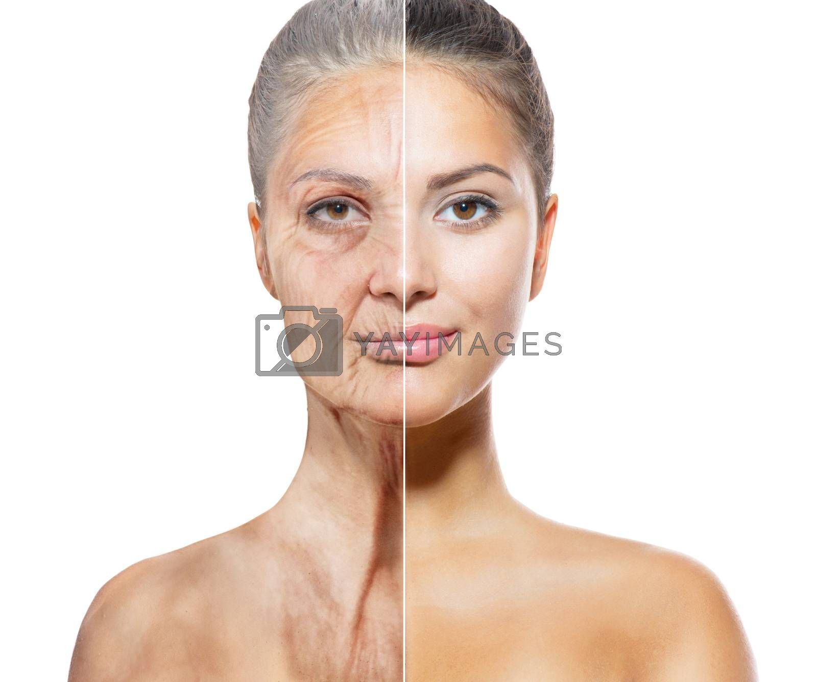 Aging and Skincare Concept. Faces of Young and Old Women