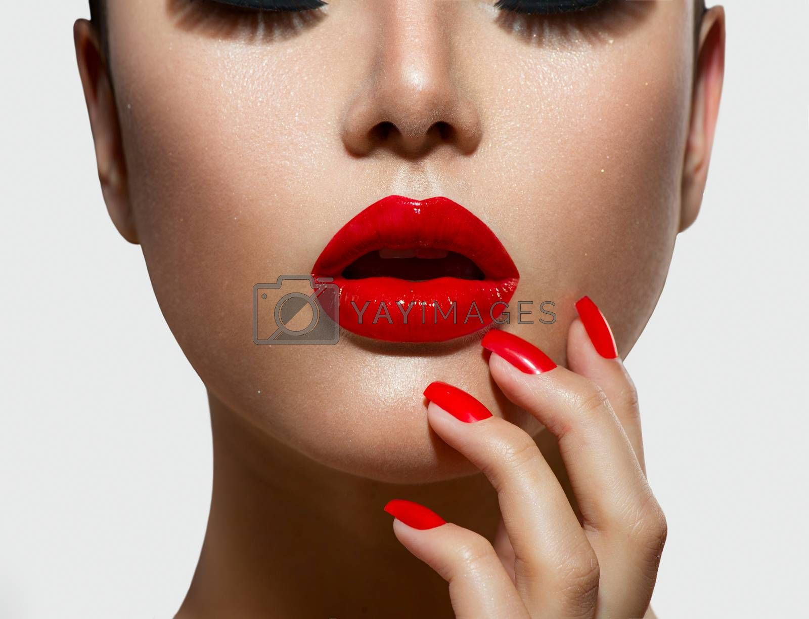 Red Sexy Lips and Nails closeup. Manicure and Makeup by SubbotinaA