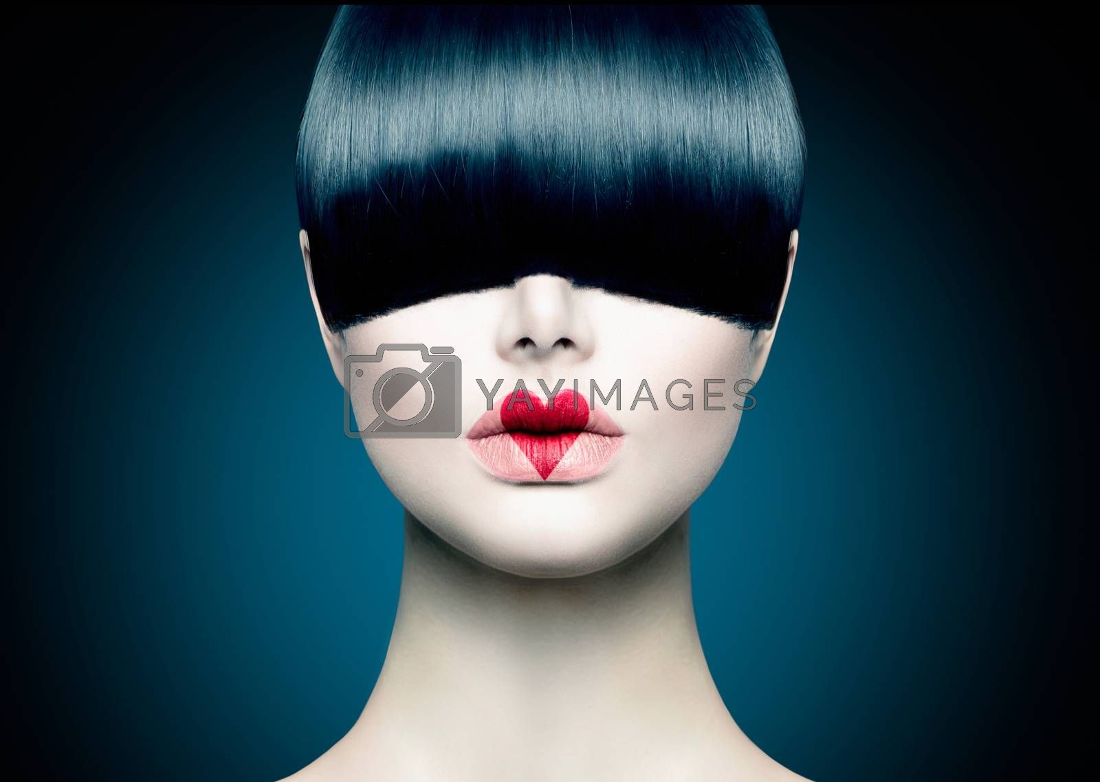 High Fashion Model Girl Portrait with Trendy Fringe by SubbotinaA