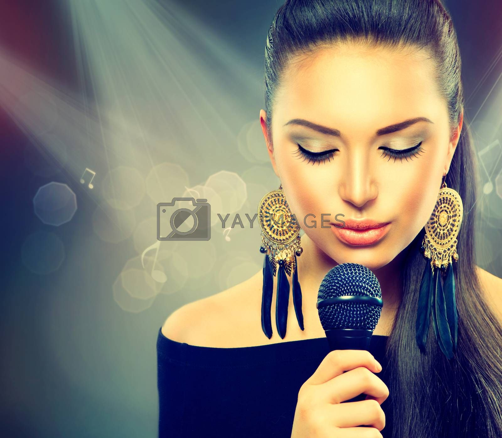 Beautiful Singing Girl. Beauty Woman with Microphone by SubbotinaA