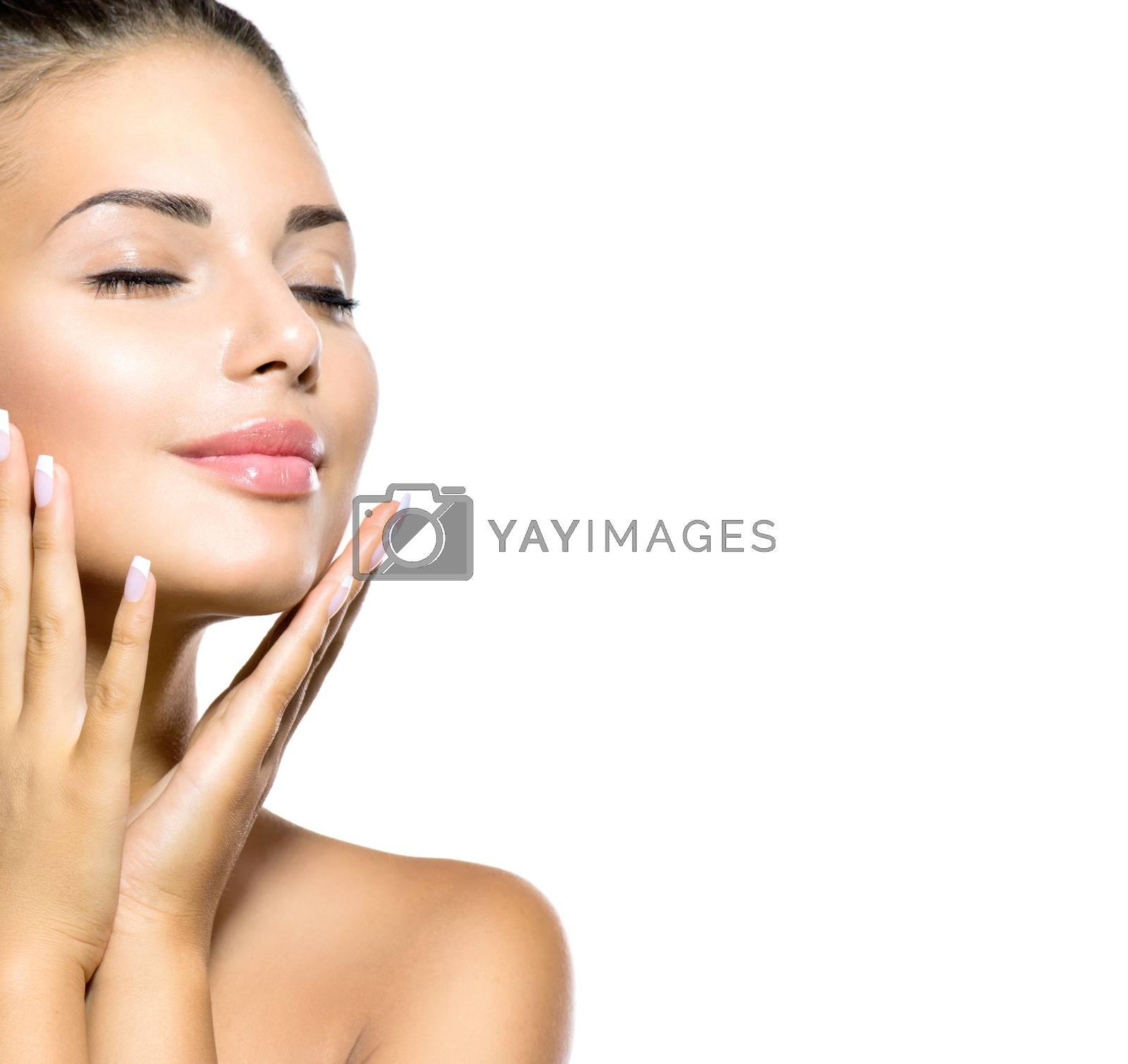 Beauty Spa Woman Portrait. Beautiful Girl Touching her Face by SubbotinaA