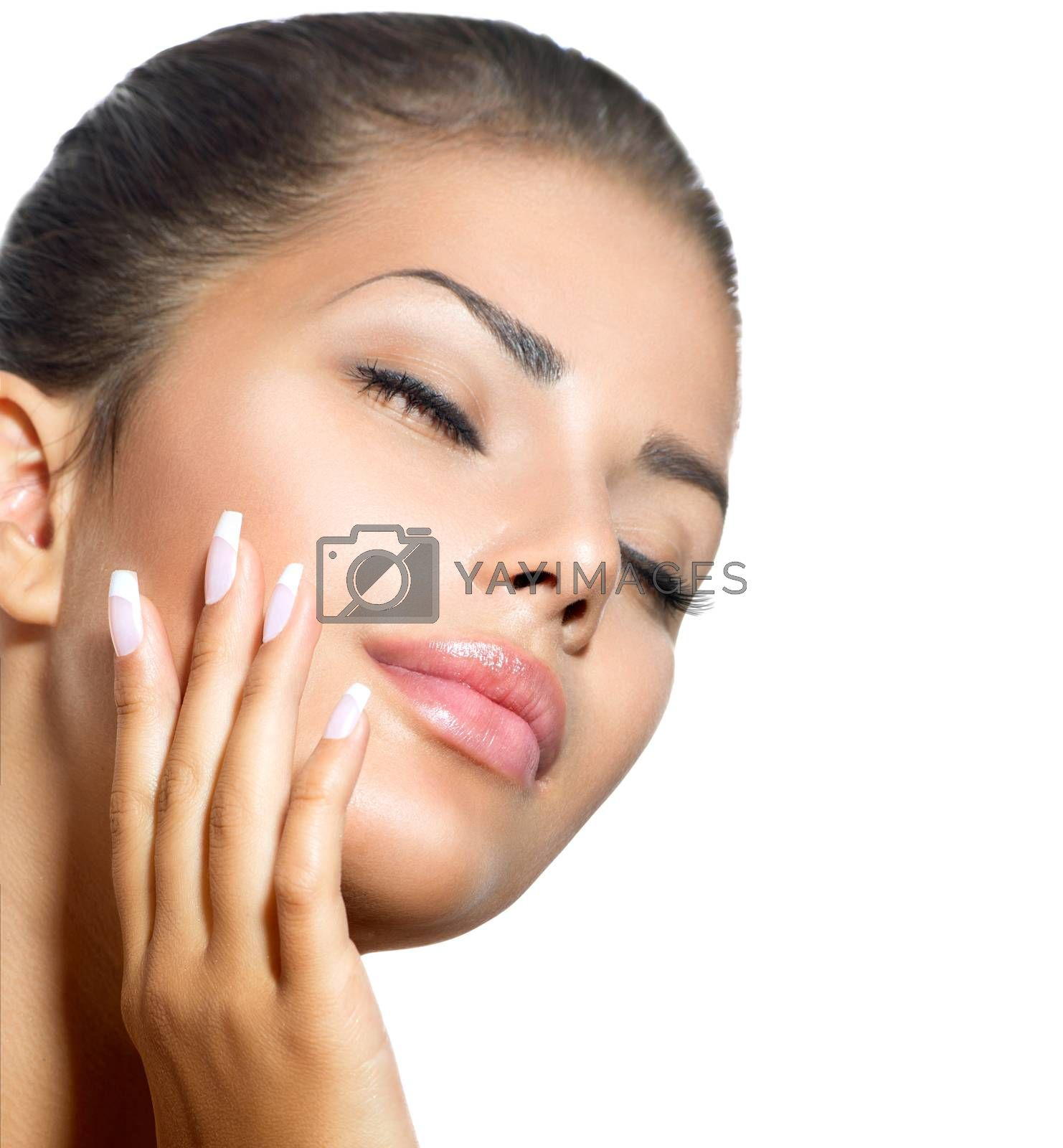 Beauty Spa Woman Portrait. Beautiful Girl Touching her Face by SubbotinaA