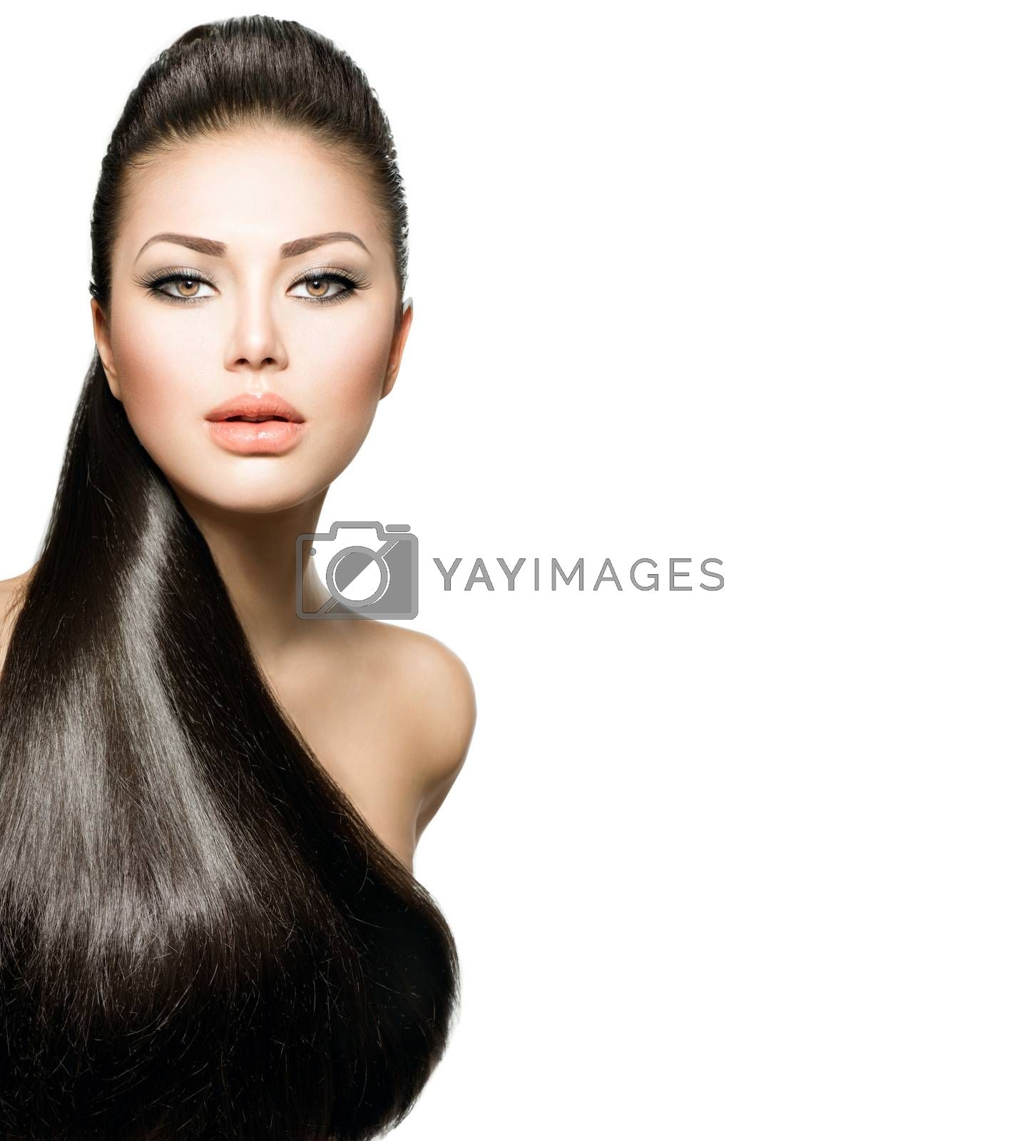 Fashion Model Girl with Long Healthy Straight Hair by SubbotinaA