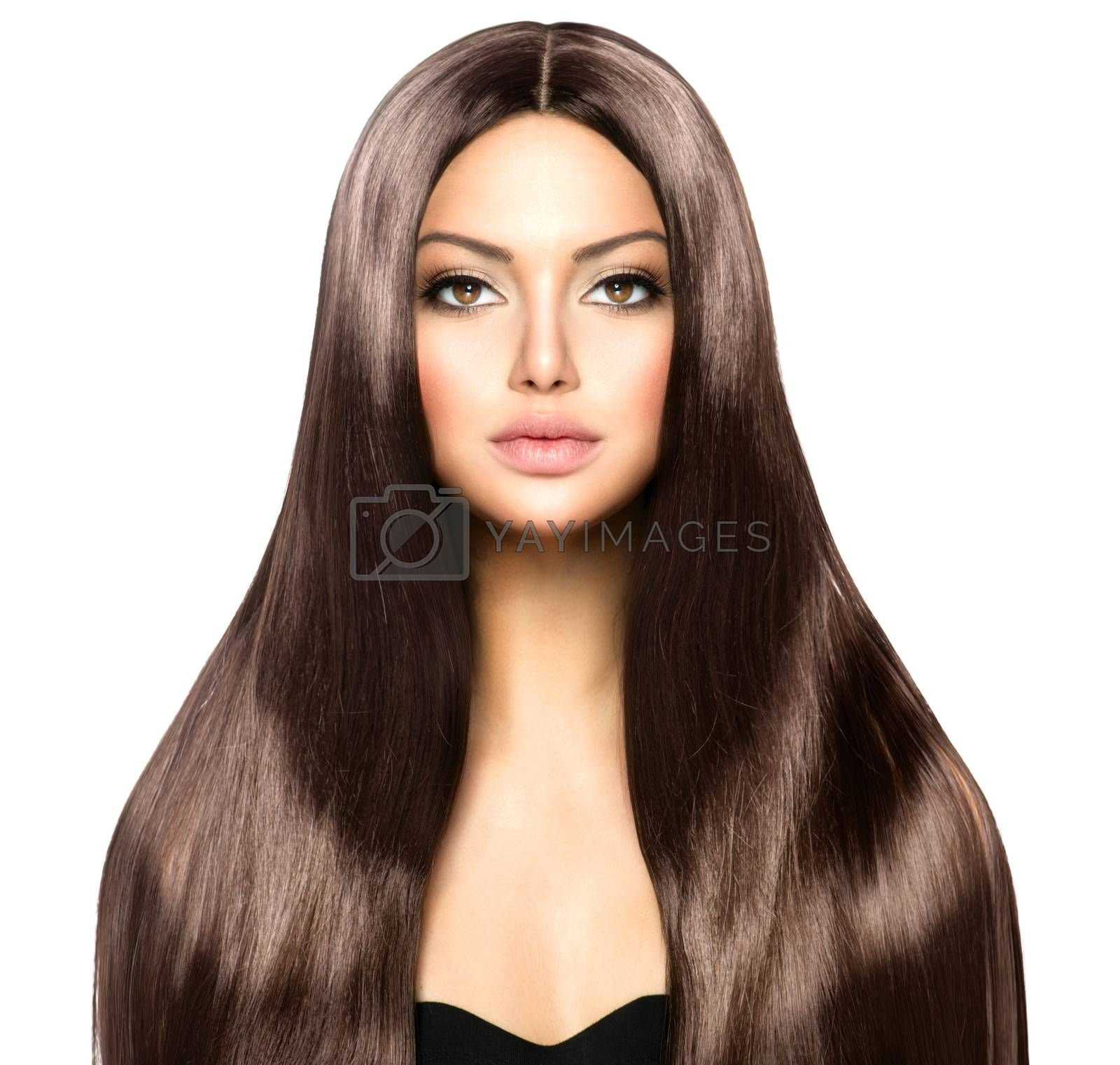 Beauty Woman with Long Healthy and Shiny Smooth Brown Hair by SubbotinaA