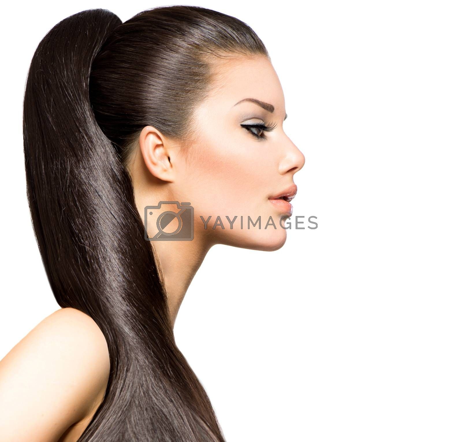 Ponytail Hairstyle. Beauty Brunette Fashion Model Girl by SubbotinaA