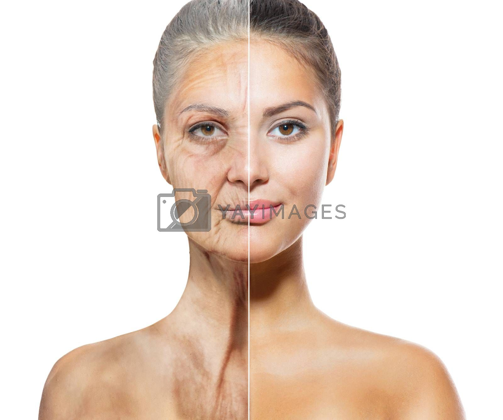 Aging and Skincare Concept. Faces of Young and Old Women by SubbotinaA