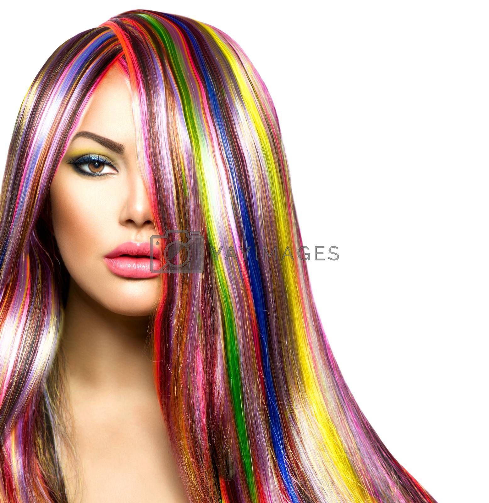 Colorful Hair and Makeup. Beauty Fashion Model Girl by SubbotinaA