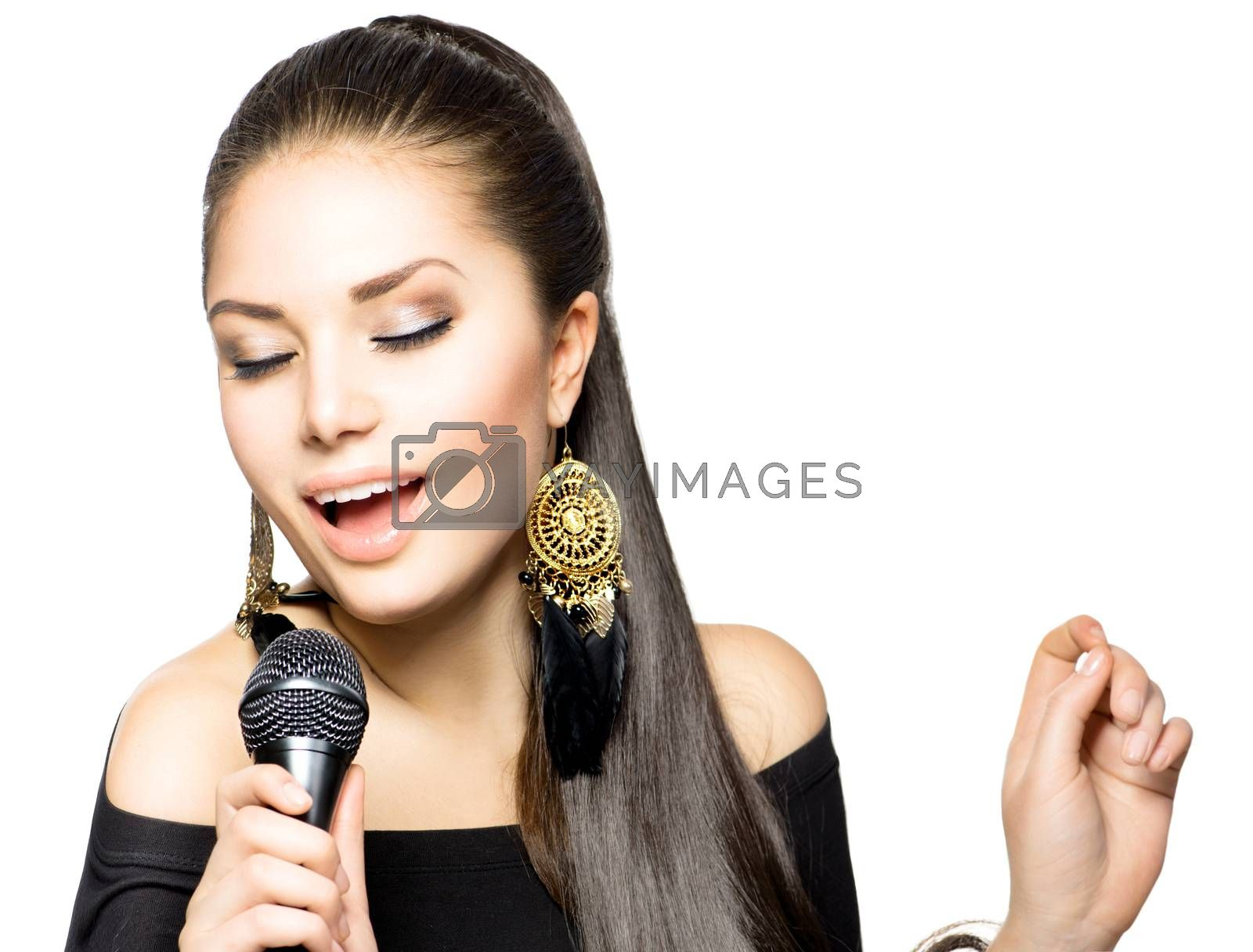 Singing Woman. Beauty Woman with Microphone by SubbotinaA