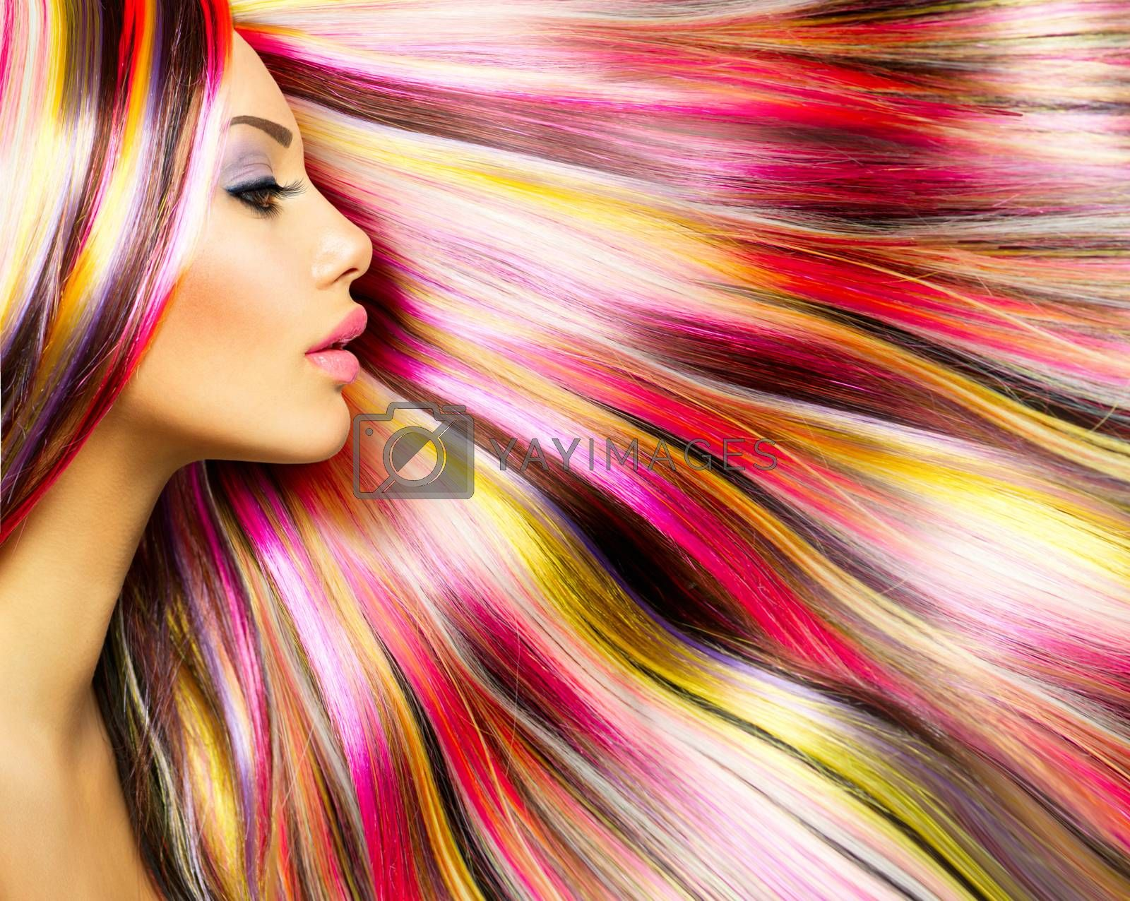 Beauty Fashion Model Girl with Colorful Dyed Hair