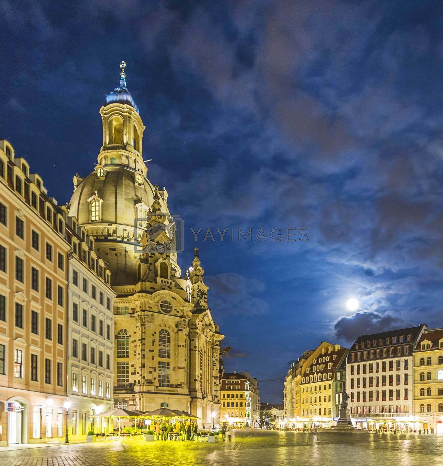 Royalty free image of Liebfrauenkirche in Dresden by night by meinzahn