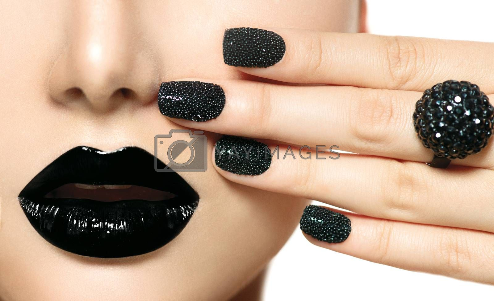 Black Caviar Manicure and Black Lips. Fashion Makeup by SubbotinaA