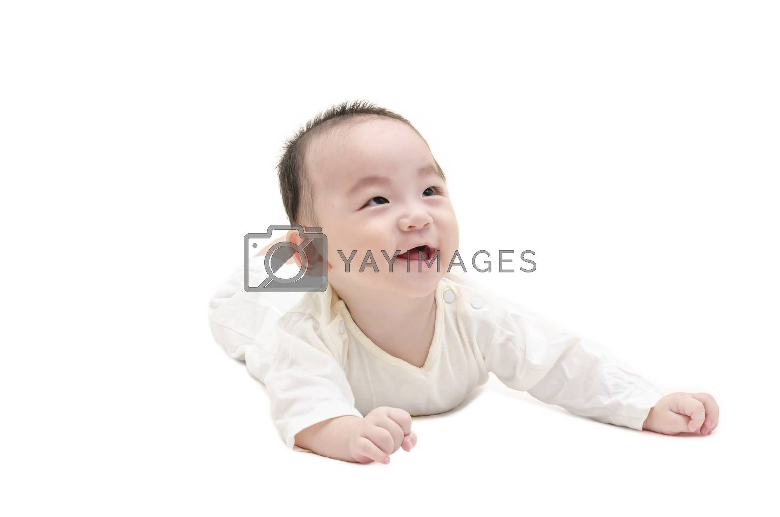 Royalty free image of Cute baby lying on white floor by FrankyLiu