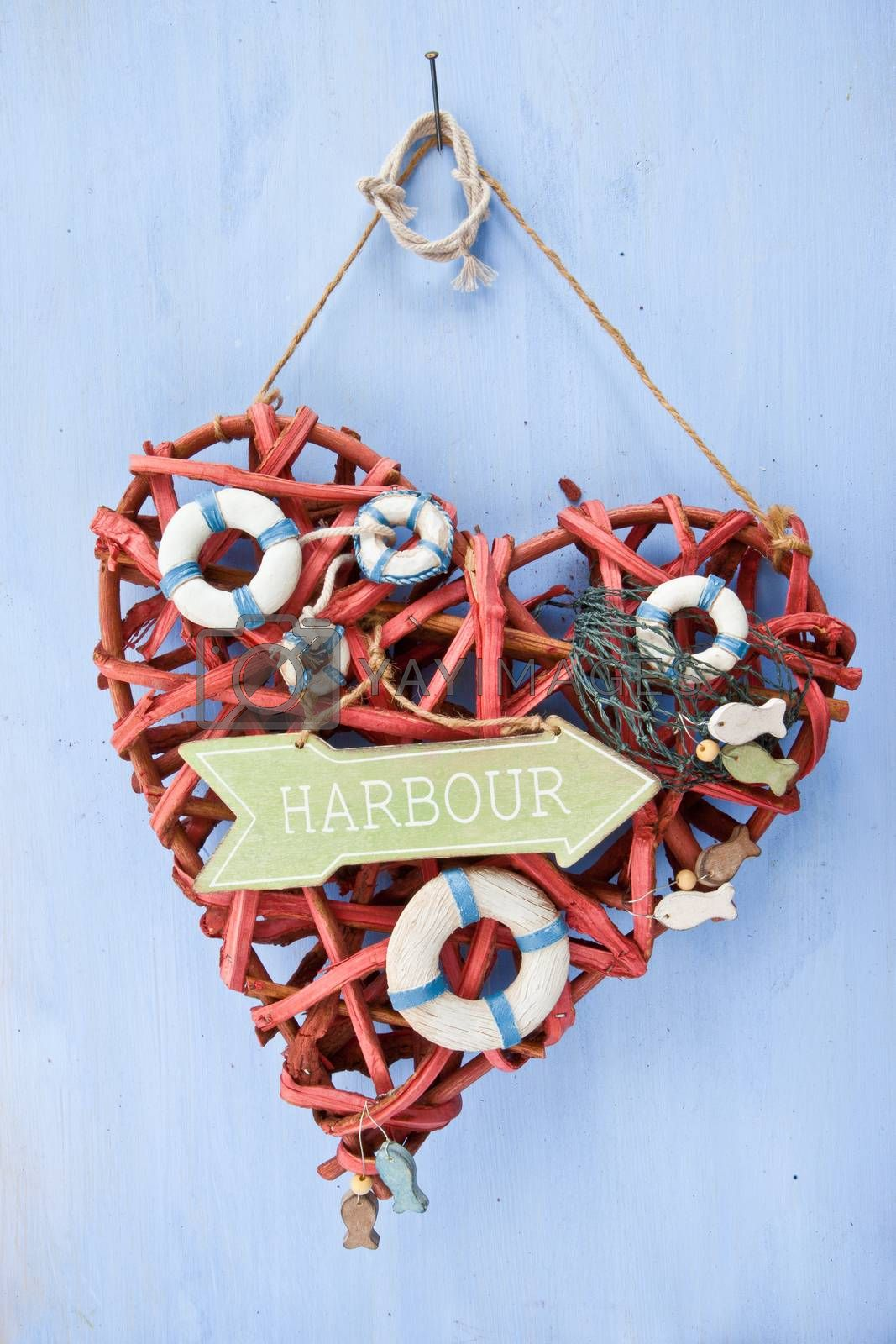Royalty free image of Blue background with a signpost to the harbour by BarbaraNeveu