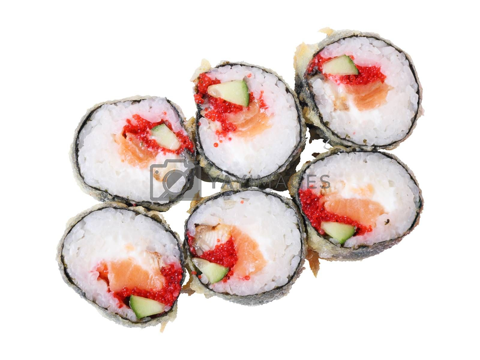 Royalty free image of Top view of hot rolls with salmon by whiterabbit