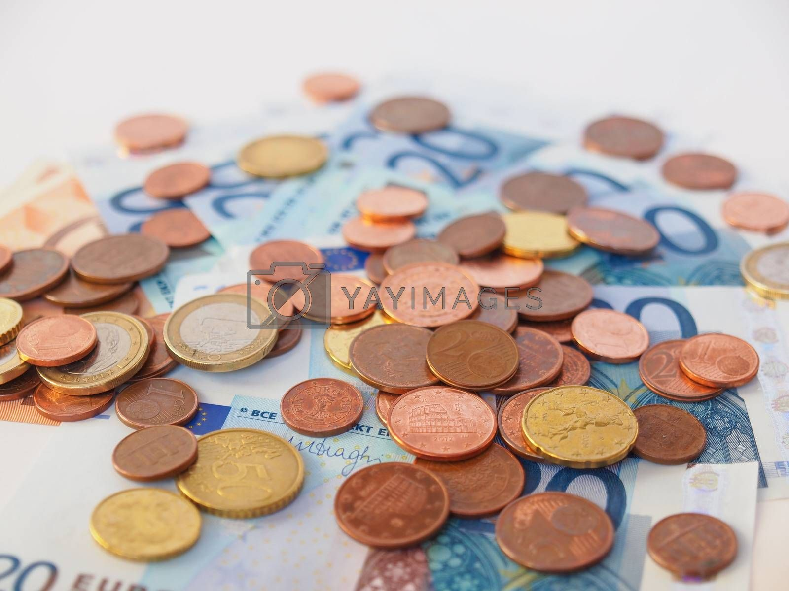 Royalty free image of Euros coins and notes by claudiodivizia