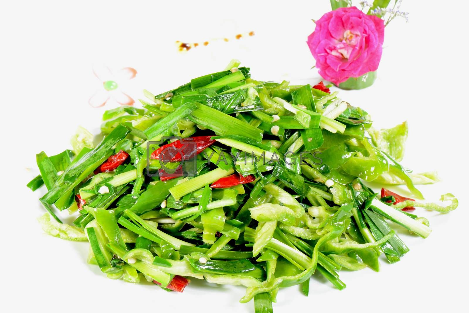 Royalty free image of Chinese Food: Fried leek vegetable by bbbar