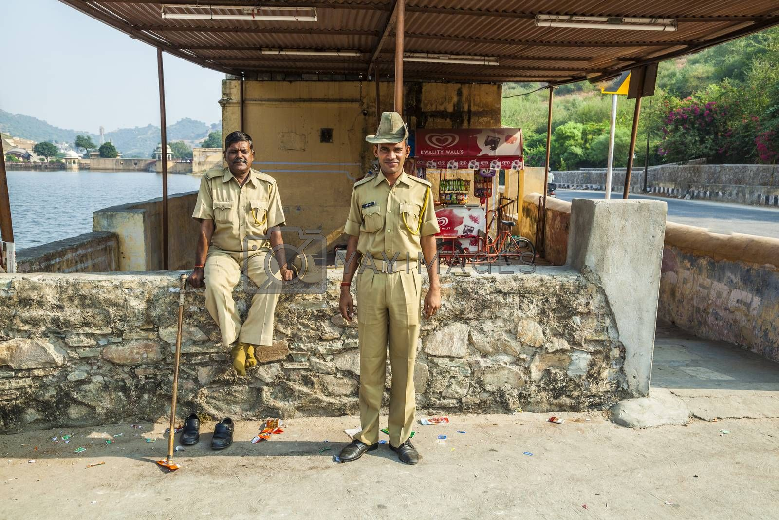 Royalty free image of police controls the parking lot at Amber fort by meinzahn