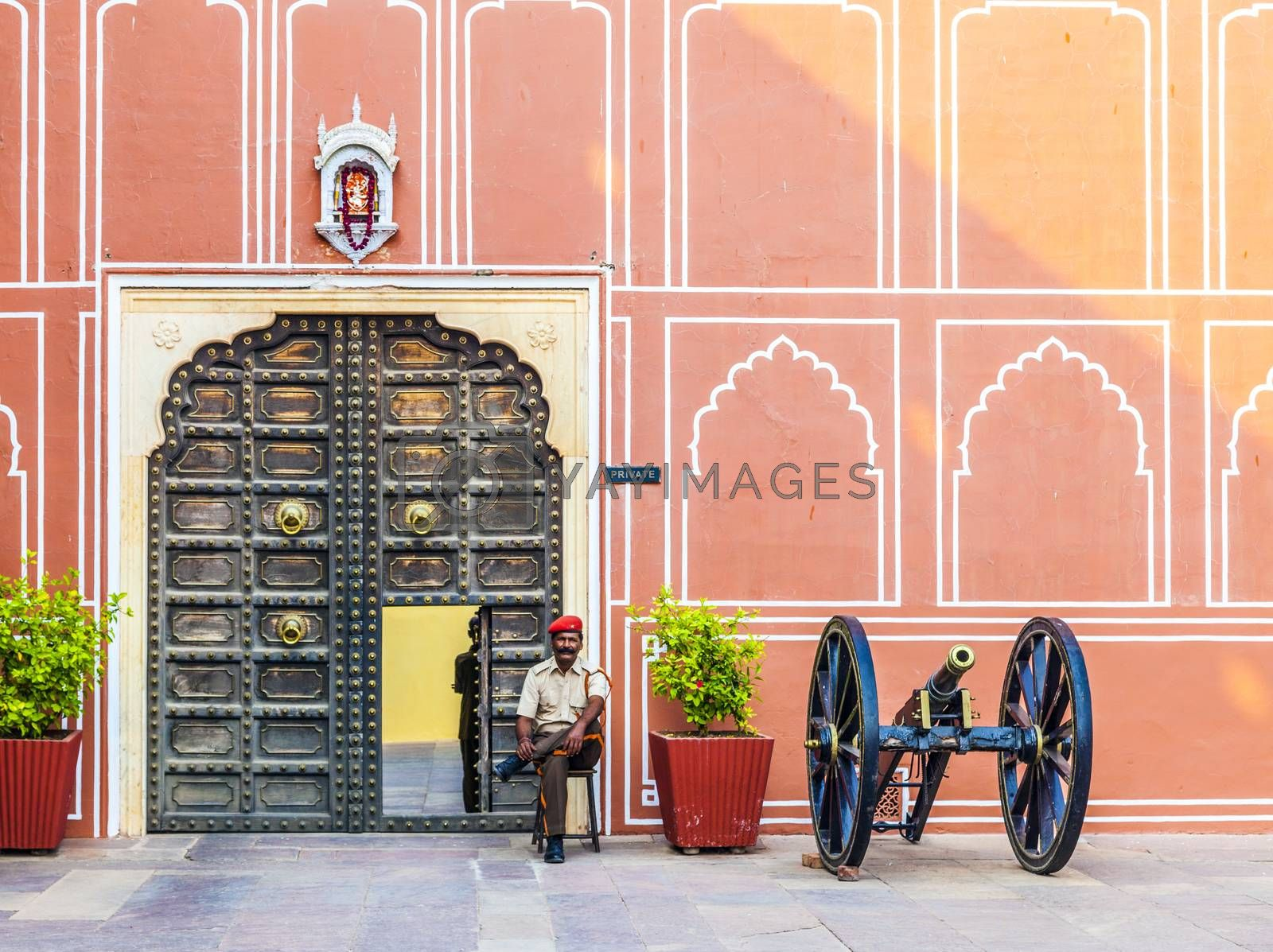 Royalty free image of Indian guard at the entrance of the museum by meinzahn