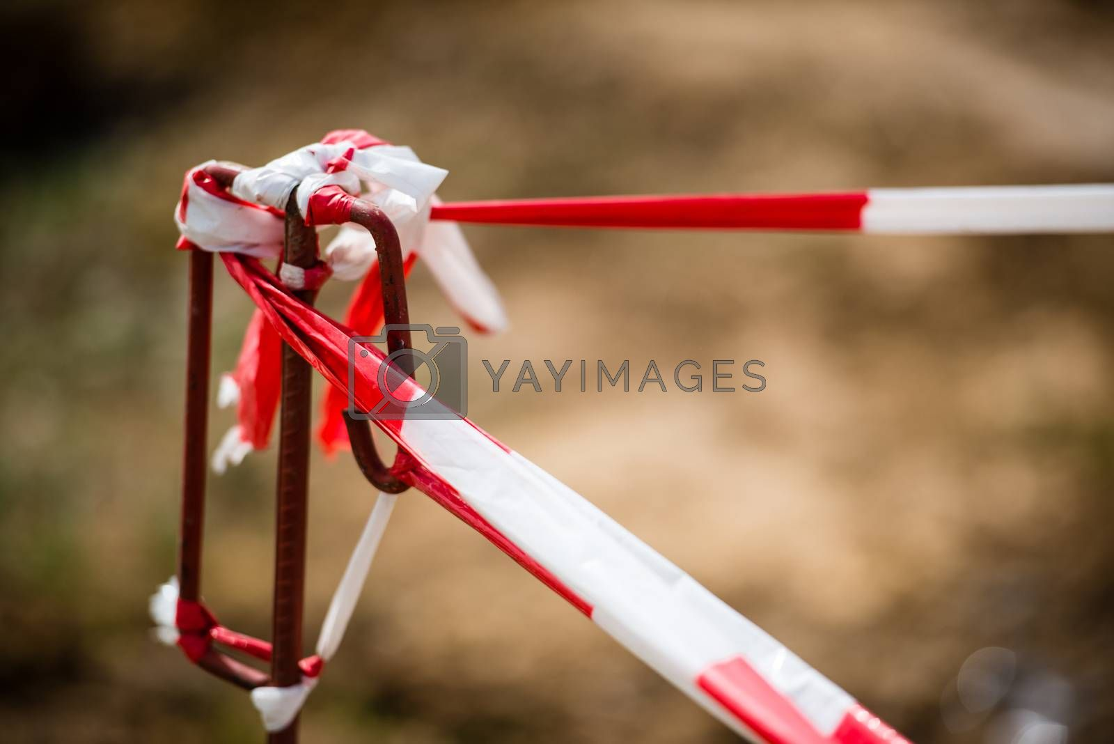 Royalty free image of Red White Do Not Cross Warning Band by franky242