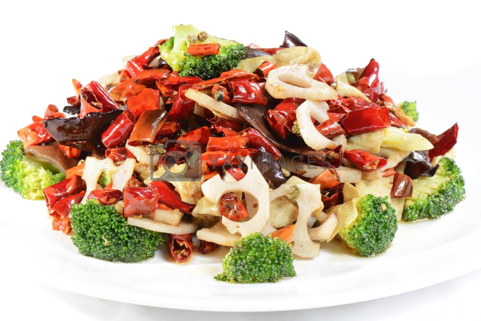Royalty free image of Chinese Food: Fried vegetables with pepper by bbbar