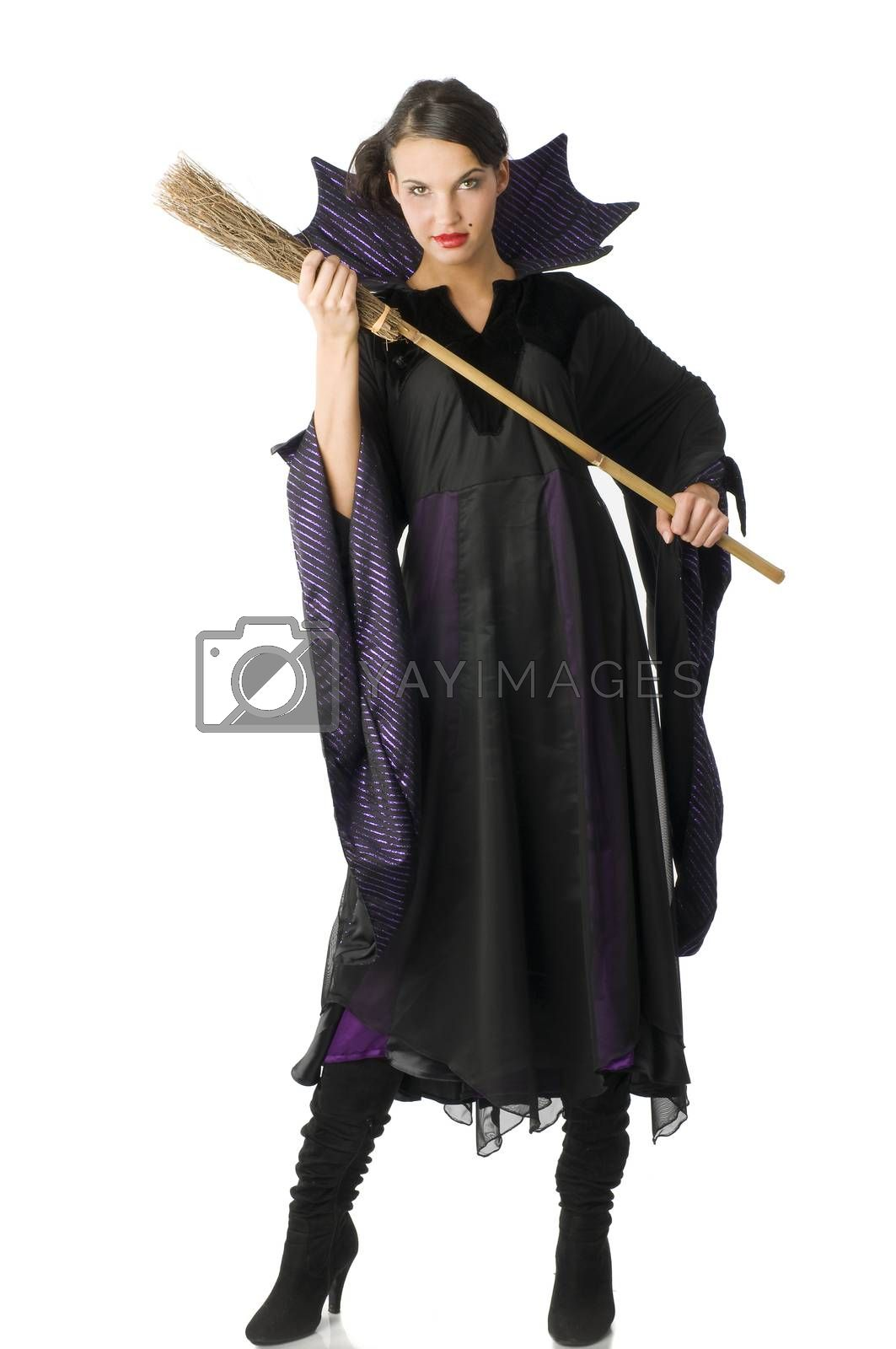 Royalty free image of the witch with broom by fotoCD