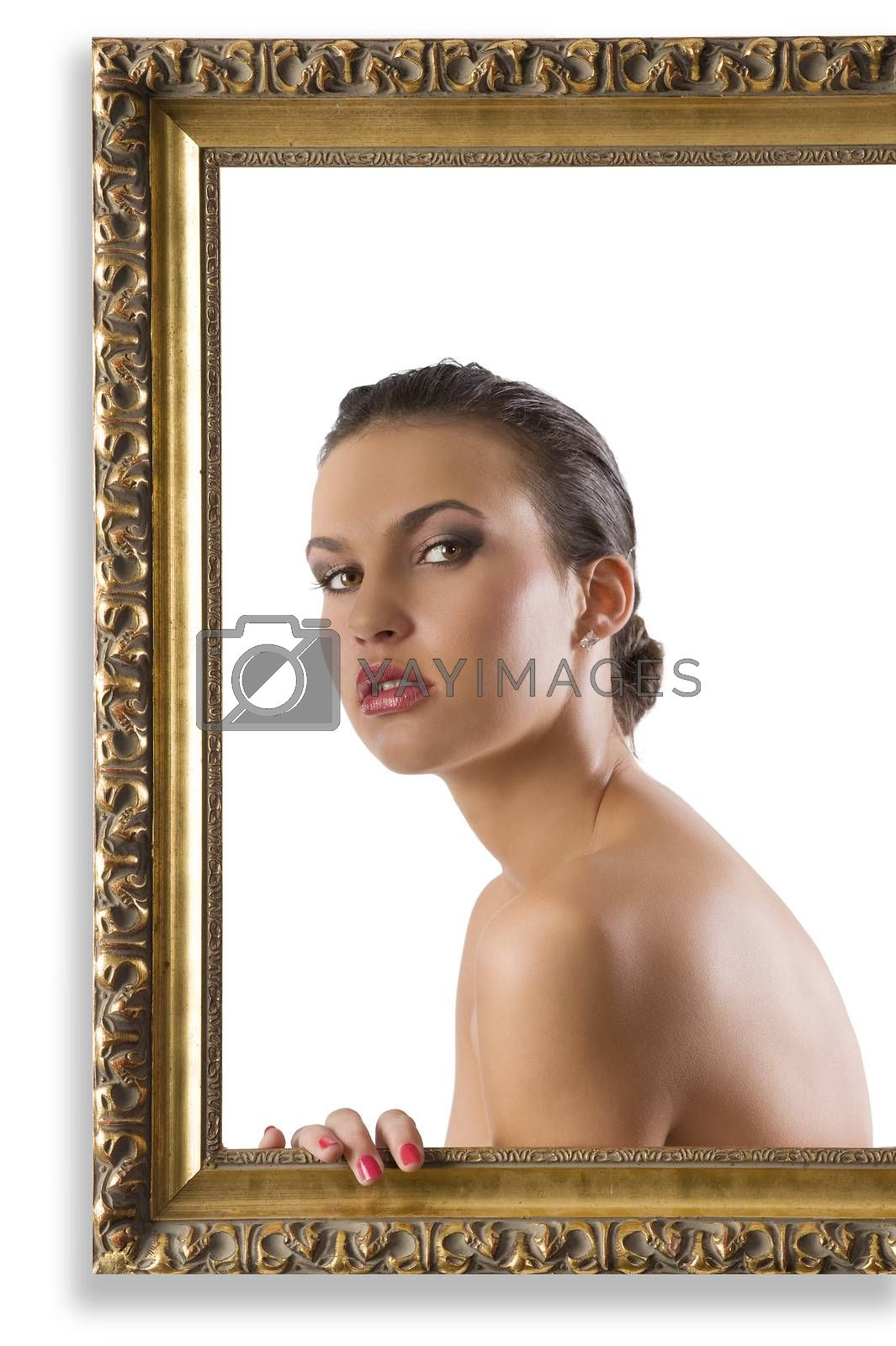 Royalty free image of girl with nude shoulder by fotoCD
