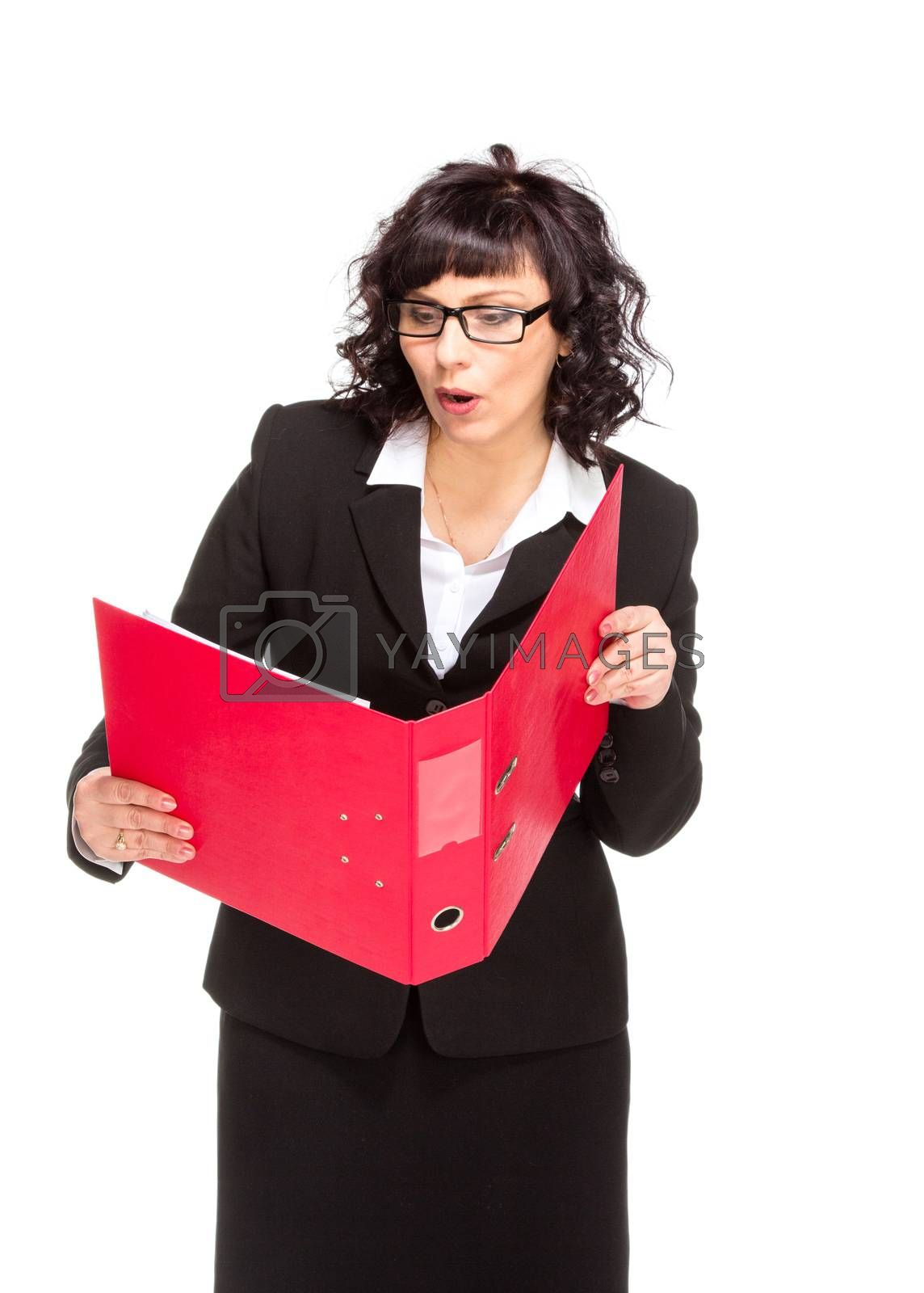 Cheerful senior business woman with folder by gsdonlin