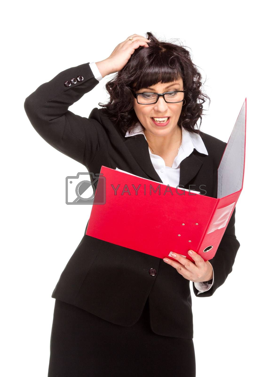 Royalty free image of surprised senior business woman with folder by gsdonlin