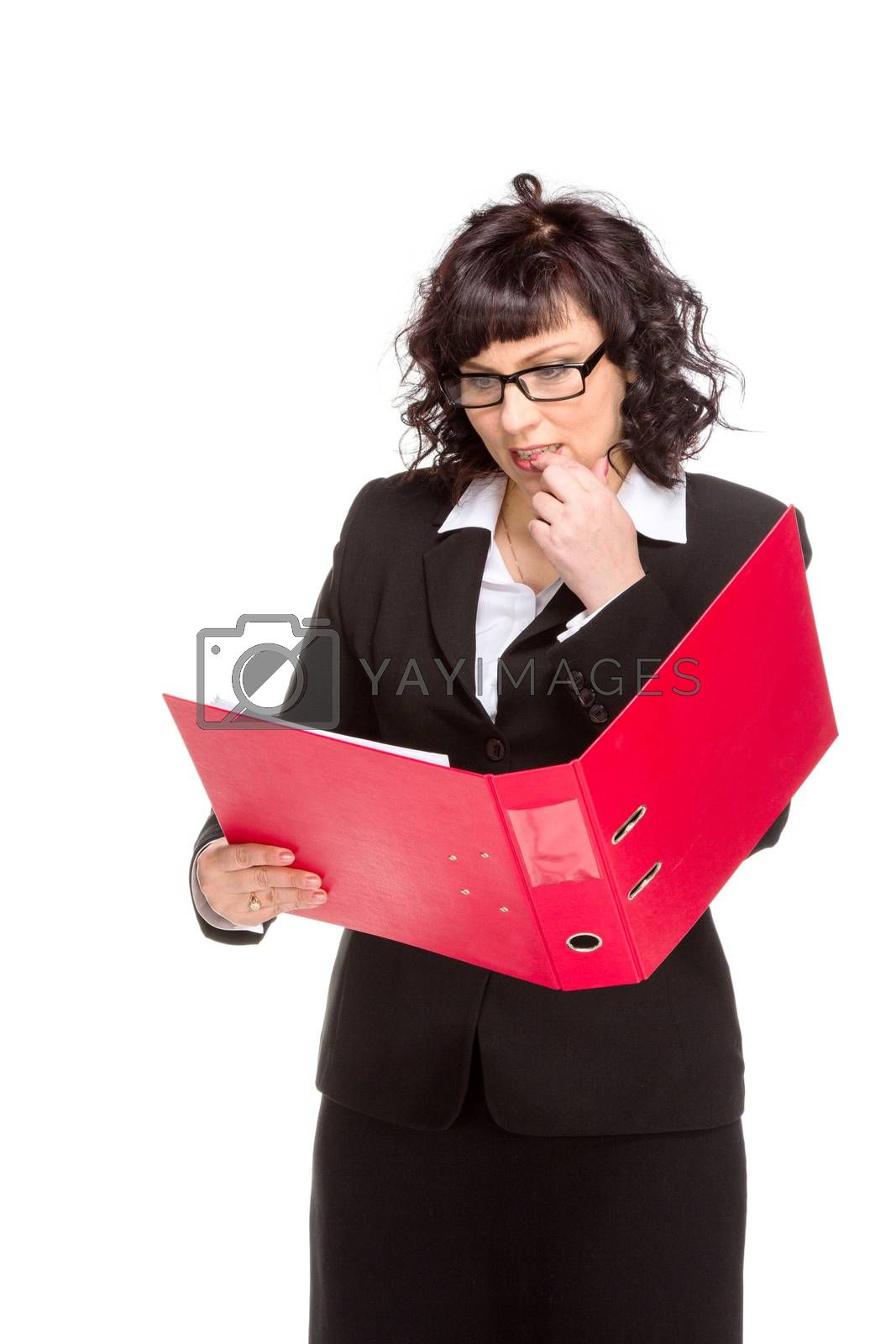 Royalty free image of Cheerful senior business woman with folder by gsdonlin