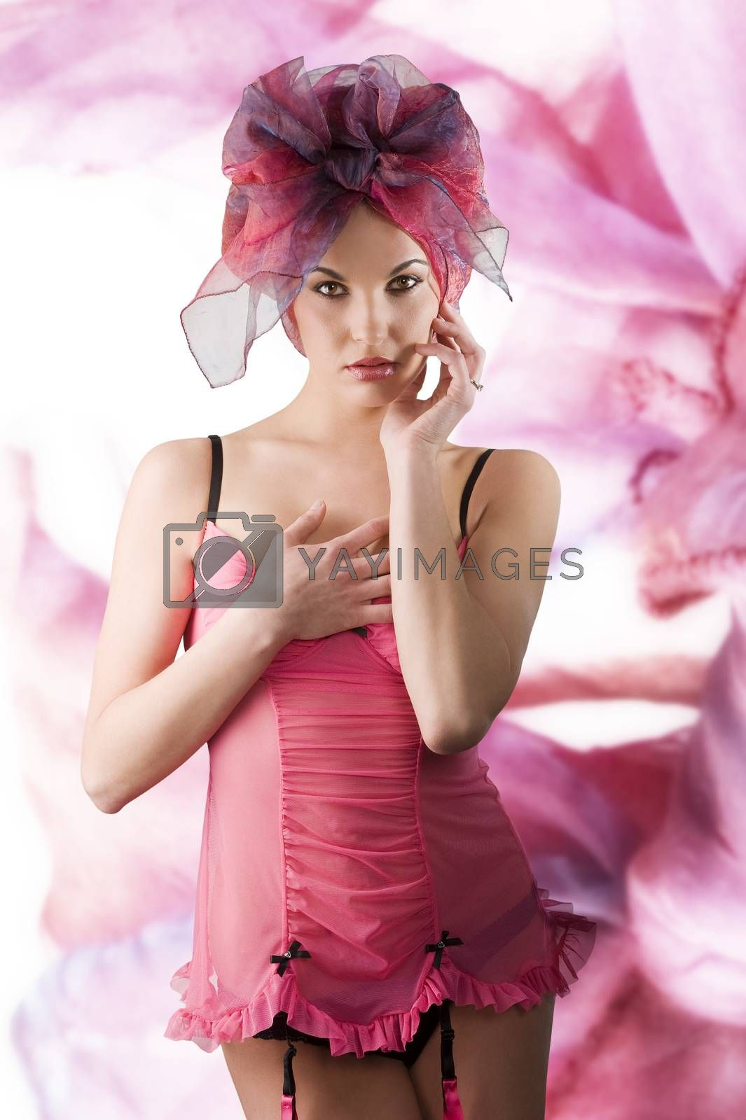 pink girl with headscarf by fotoCD