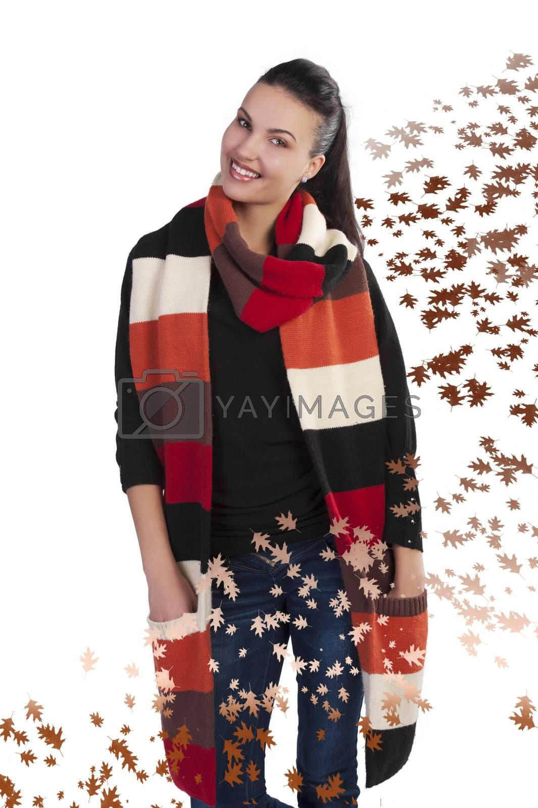 Royalty free image of brunette in autumn dress up by fotoCD